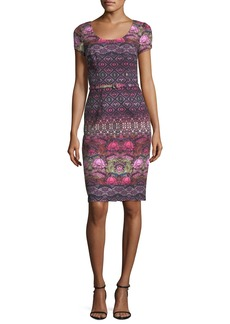 David Meister Short-Sleeve Printed Crepe Cocktail Dress