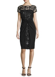 David Meister Short-Sleeve Sequined Lace Cocktail Dress