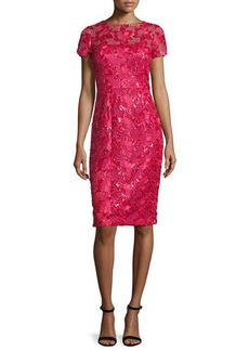 David Meister Short-Sleeve Sequined Lace Sheath Cocktail Dress
