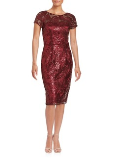 David Meister Short Sleeve Sequined Sheath Dress