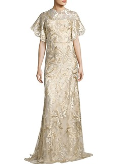 David Meister Short Tulip Sleeve Embroidered Lace Gown