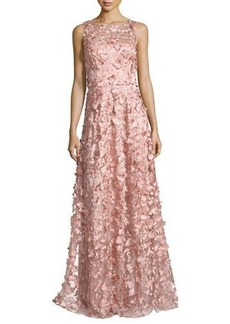 David Meister Sleeveless 3D Floral Tulle Gown