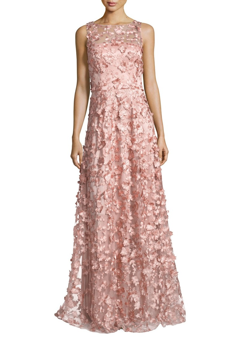 9c185340cc David Meister David Meister Sleeveless 3D Floral Tulle Gown