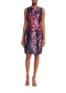 David Meister Sleeveless Bateau-Neck Floral Satin Cocktail Dress