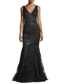 David Meister Sleeveless Beaded Embroidered Mermaid Gown