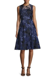 David Meister Sleeveless Beaded Floral Jacquard Dress