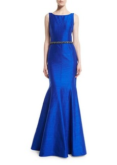 David Meister Sleeveless Beaded-Waist Mermaid Gown
