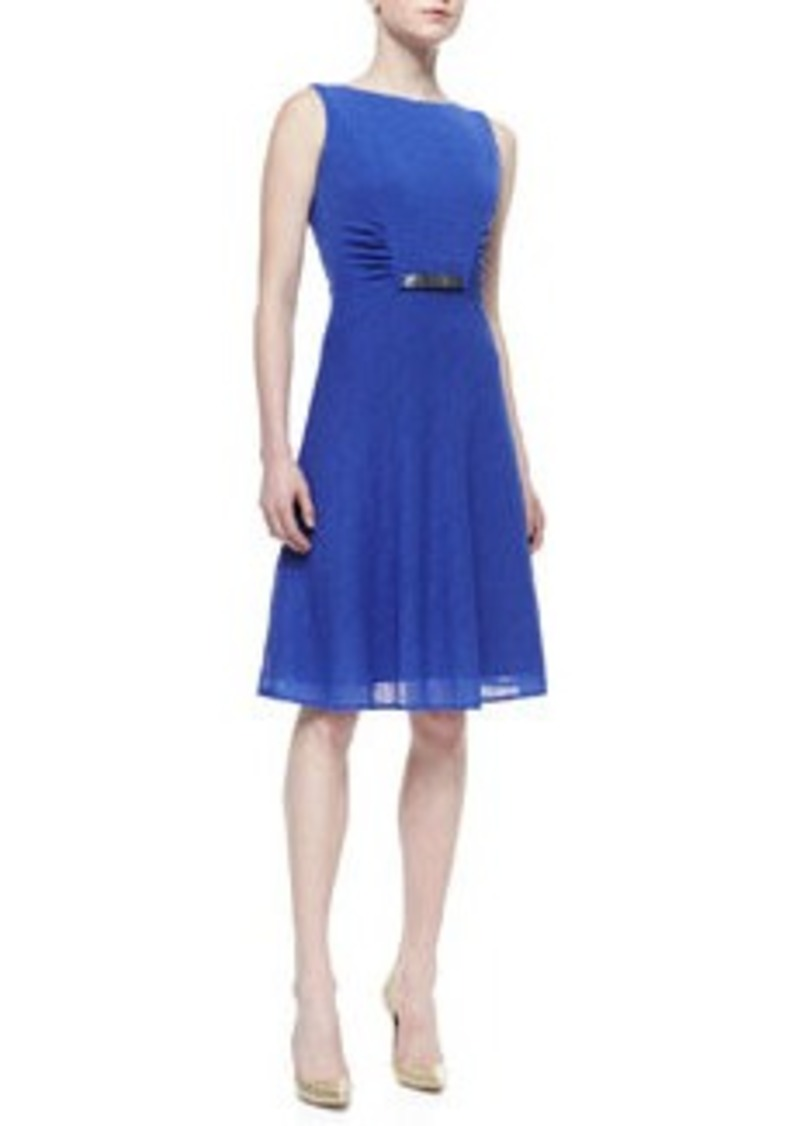 David Meister Sleeveless Belted Dress with Ruched Sides, Iris Blue