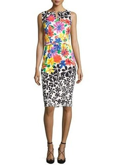 David Meister Sleeveless Belted Floral Sheath Dress