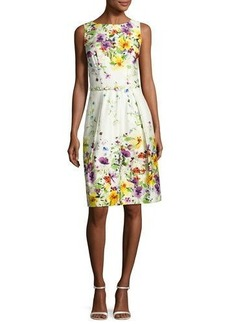 David Meister Sleeveless Belted Floral Stretch Poplin Dress