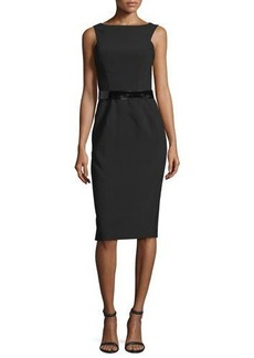 David Meister Sleeveless Belted Sheath Dress