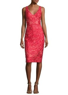 David Meister Sleeveless Embroidered Cocktail Dress