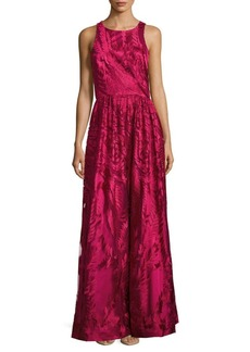 David Meister Sleeveless Embroidered Gown