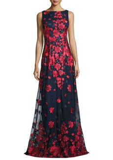 David Meister Sleeveless Embroidered Tulle Gown