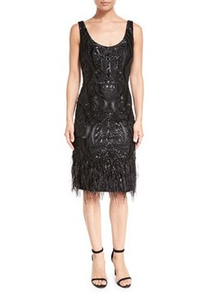 David Meister Sleeveless Faux Feather-Trim Patterned Cocktail Dress