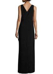 David Meister Sleeveless Faux-Wrap Draped Dress W/ Beaded Side