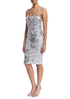 David Meister Sleeveless Fitted Sequined Cocktail Dress