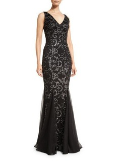 David Meister Sleeveless Floral Beaded Godet Gown