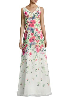 David Meister Sleeveless Floral Chiffon Gown