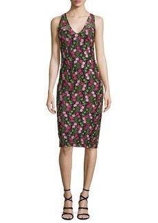 David Meister Sleeveless Floral Embroidered Dress