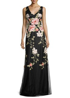 David Meister Sleeveless Floral Embroidered Tulle Gown