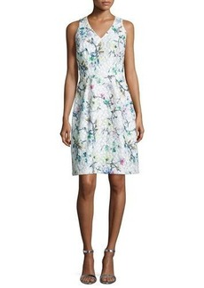 David Meister Sleeveless Floral Jacquard Dress