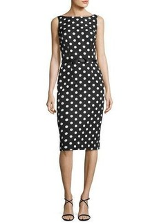 David Meister Sleeveless Floral Jacquard Polka-Dot Cocktail Dress