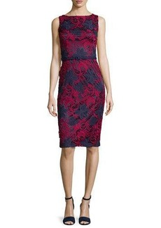 David Meister Sleeveless Floral Lace Sheath Dress