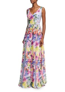 David Meister Sleeveless Floral Pleated Evening Gown