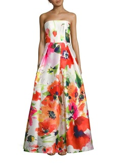 David Meister Sleeveless Floral Print Ball Gown