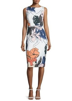 David Meister Sleeveless Floral-Print Belted Sheath Dress