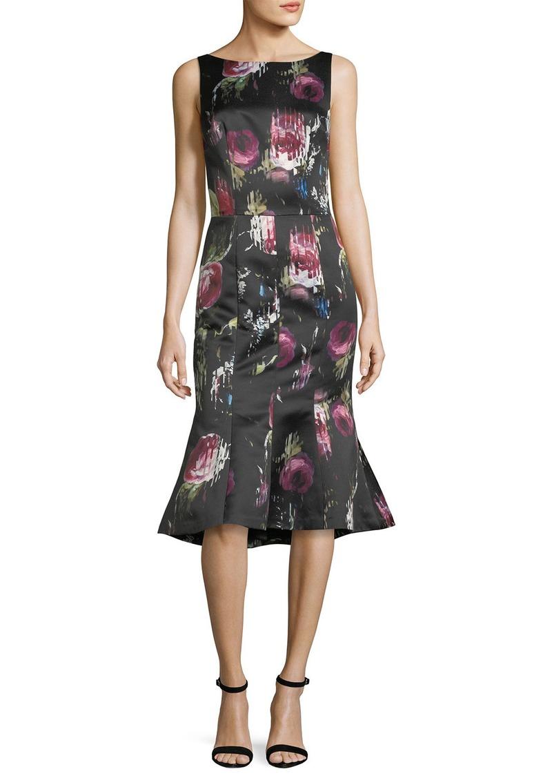 e0b069c5ef David Meister Sleeveless Floral-Print Flounce-Hem Midi Dress