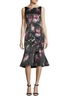 David Meister Sleeveless Floral-Print Flounce-Hem Midi Dress
