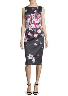 David Meister Sleeveless Floral-Print Midi Sheath Dress