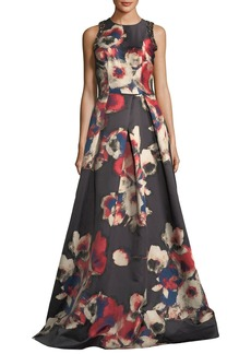 David Meister Sleeveless Floral-Printed Evening Gown w/ Jewel Embellishments