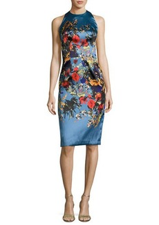 David Meister Sleeveless Floral Satin Cocktail Dress