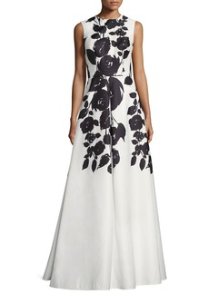 David Meister Sleeveless Floral Satin Gown