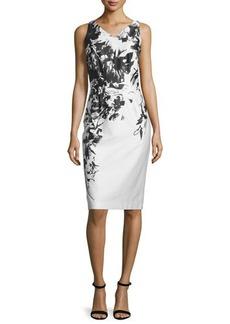 David Meister Sleeveless Floral Sheath Dress
