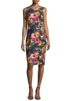 David Meister Sleeveless Floral Stretch Crepe Midi Dress