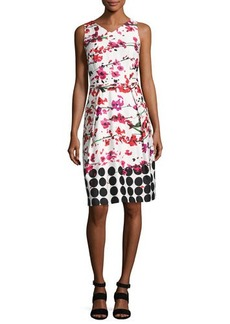 David Meister Sleeveless Floral Stretch Sheath Dress