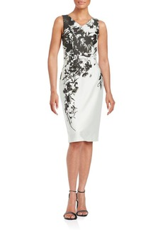 David Meister Sleeveless Foliage Print Sheath Dress