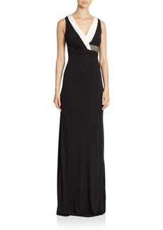 David Meister Sleeveless Gown with Draped Bodice