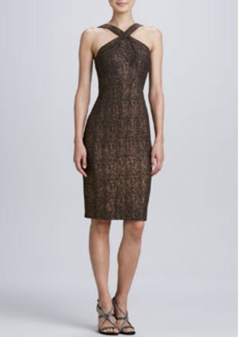 David Meister Sleeveless Halter Cocktail Dress