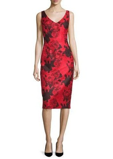 David Meister Sleeveless Jacquard Cocktail Dress