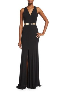 David Meister Sleeveless Jersey Column Gown