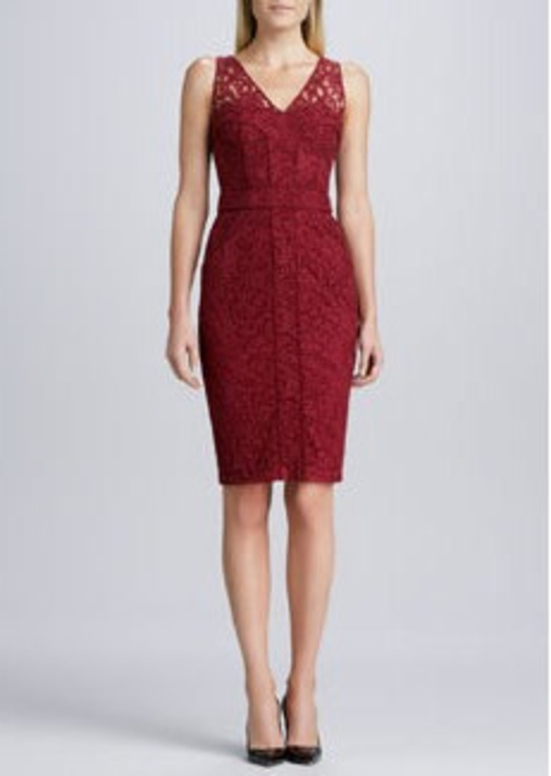 David Meister Sleeveless Lace Cocktail Dress, Red