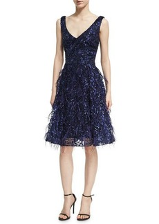 David Meister Sleeveless Lace Eyelash Dress