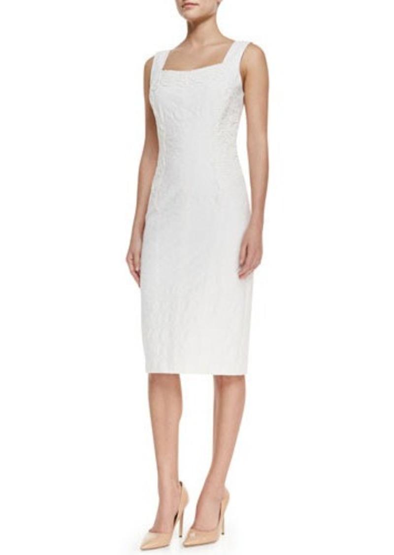David Meister Sleeveless Lace-Panel Cocktail Dress, White