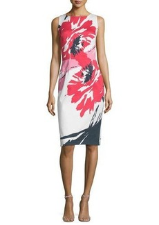 David Meister Sleeveless Macro-Floral-Print Sheath Dress