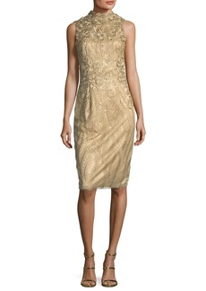 David Meister Sleeveless Metallic Cocktail Sheath Dress w/ 3D Floral Appliqué